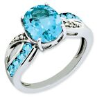 925 Sterling Silver Blue Topaz and Diamond Infinity Ring - 4.014cttw