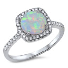 ELEGANT WHITE OPAL WITH C.Z. STONES  Authentic.925 Solid Sterling Size 6 TO 12