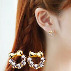 Sparkling Crystal Bowknot/Crown Earrings Ear Stud Fashion Small Jewelry Pretty