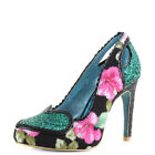 Womens Poetic Licence Loren Love Black Glitter Floral High Heel Shoes Size