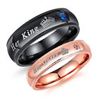 Fashion Titanium Steel Rhinestone Her King His Queen Couple Finger Rings Cheap