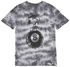 HUF x Peanuts Spike Snoopy 8-Ball T-Shirt Skatewear Mens Tie Dye Black $34.0 USD