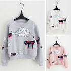 2018 Girl Printing Spring Sweatshirt Tops Casual Thick Velvet Cartoon Cat Hoodie