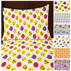 3pc Emoji Print Sheet Set Twin Size Microfiber Bedding Flat Fitted & Pillowcase image