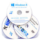 3 x DVD PACK Windows 8 Home and Professional Reinstall + Drivers + Boot DVD Disk