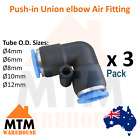3 x Push in Air Fitting Equal Union Elbow Pneumatic Systems PU PE Tube Pack 3Pc