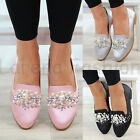 New Womens Flat Pumps Pearl Slip On Ballerinas Plimsolls Casual Shoes Sizes 3-8