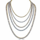 Tennis Chain Real SOLID 925 Sterling Silver Single Row ICY Diamonds Men&#039;s ITALY <br/> 3mm 4mm 5mm 6mm 7mm 18-30&quot; 14k Gold Or Rhodium Finish