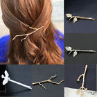 Women Girls Retro Gold/Silver Leaf Branch French Hair Clip Hairpin Bobby Pin