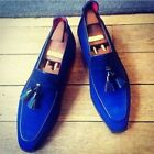 Handmade Men Suede Leather Blue Shoes Royal Blue Loafer Formal Leather Sole Shoe