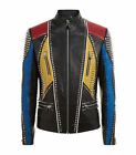 Mens Bespoke Punk Style Silver Studded Real Leather Jacket Men Leather Jacket
