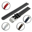 Genuine Leather Watch Band Contrast Stitching 12mm 14mm Choice of Colours C001