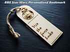 Personalised Star Wars wooden bookmark with BB8 R2D2 Storm Trooper £3.49 GBP