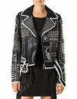 Women Punk Style Silver Studded Jacket Ladies Fashion Real Leather Jacket