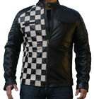 Mens Bespoke Check Style Fashion Leather Jacket Real Quilted Men Leather Jacket