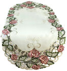 Table Runner, Doily, Mantel Scarf with Victorian Pink Roses on Ivory Fabric