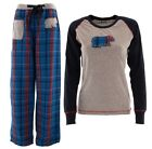 Lazy One Junior's Blue Plaid Bear Pajamas Juniors Two-Piece Pajama Set PJs