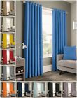 100% Cotton Ready Made Curtains Panama Self Lined Ring Top Eyelet Curtain Pair