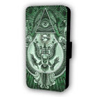 ALL SEEING EYE EAGLES PYRAMID GREEN FLIP STYLE PHONE CASE WITH CARD HOLDER