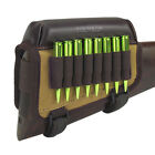 Tourbon Hunting Rifle Ammo Cartridge Buttstock Holder Cheek Rest Canvas Leather Magazine Pouches - 73965