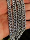 Mens Miami Cuban Link Chain Solid 925 Sterling Silver 25ct Lab Diamonds Gold 9mm