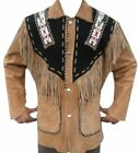 Men Western Wear Suede Leather Jacket American CowBoy Beads Fringed style Coat
