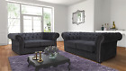 New Jackson Chesterfield 3 2 1 Seater Sofa Suite Chenille Fabric - Charcoal Grey