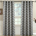 Pair (Set of 2) Lisette Chevron Top Grommet Window Curtain Panels, 108""