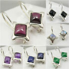 925 Silver Stylish Earrings BLACK ONYX & Choose Other Square Gemstones Variation