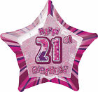 Glitz Pink 21st Birthday Party Tableware Decoration Plates Banners Candle Age