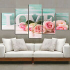 Wall Canvas Picture Modular HD Print 5Pcs Pink Rose Poster Home Decor Livingroom