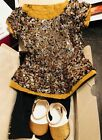 American Gril Doll Sparkling Gold Outfit New W Ring retired