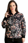 New Womens Bomber Jacket Plus Size Ladies Leaf Print Ribbed Zip Closure Sale
