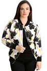 New Womens Plus Size Bomber Jacket Ladies Palm Tree Print Striped Warm Ribbed