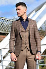 Mens 3 Piece Brown Tweed Check Checkered Formal Suit Blazer Waistcoat Trousers