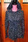 Daughters of the Liberation Anthropoloie Blue Hooded Raincoat Jacket 6 Eu 38 S M
