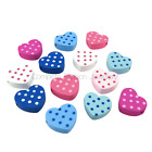 30PCS 18MM MULTI COLOURED DOT HEART SHAPED WOODEN BEADS FOR JEWELLERY MAKING
