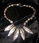 Vintage Mother of Pearl Bead Shell Neckace Silver Carved Artisan Handmade Collar