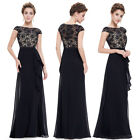 UK Ever-Pretty Long Black Evening Party Dresses Formal Lace Ball Prom Gowns 8901