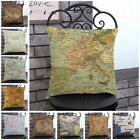 Vintage World Map Motif Housse de Coussin Coton Lin Taie d'oreiller Maison Decor