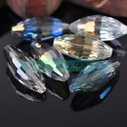 2pcs 36x16mm Big Rugby Oval Faceted Crystal Glass Loose Spacer Beads Findings