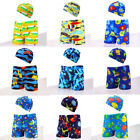 Внешний вид - Kids Boy Printing Swimming Trunks Beach Swimwear Boxer Brief With Bathing Cap UK