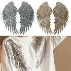 1Pair Decor Embroidered Applique Motif Angel Wings Sequins Iron-On Patch Newly