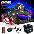 35000LM 5x T6 LED Headlamp Zoom Headlight Flashlight Rechargeable Head Lamp