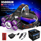 35000LM T6 LED Headlamp Zoom Headlight Flashlight Rechargeable Head Lamp