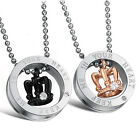 1PCS Titanium Steel Crown His and Her Promise Matching Love Couple Necklace UP