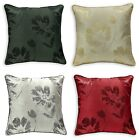 Luxury Jacquard Shimmer Floral Scatter Cushion Covers 43x43cm Cream Red Black