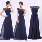 Ever-Pretty UK Navy Blue Cap Sleeve Lace Prom Gown Bridesmaid Dresses Long 09993