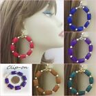 """CLIP ON 2.25"""" Hoop Earrings with Rectangle beads Non-Pierced Handmade"""
