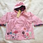 Pink Baby Girls Garden Flowers Windbreaker Jacket Hooded Spring Coat Raincoat